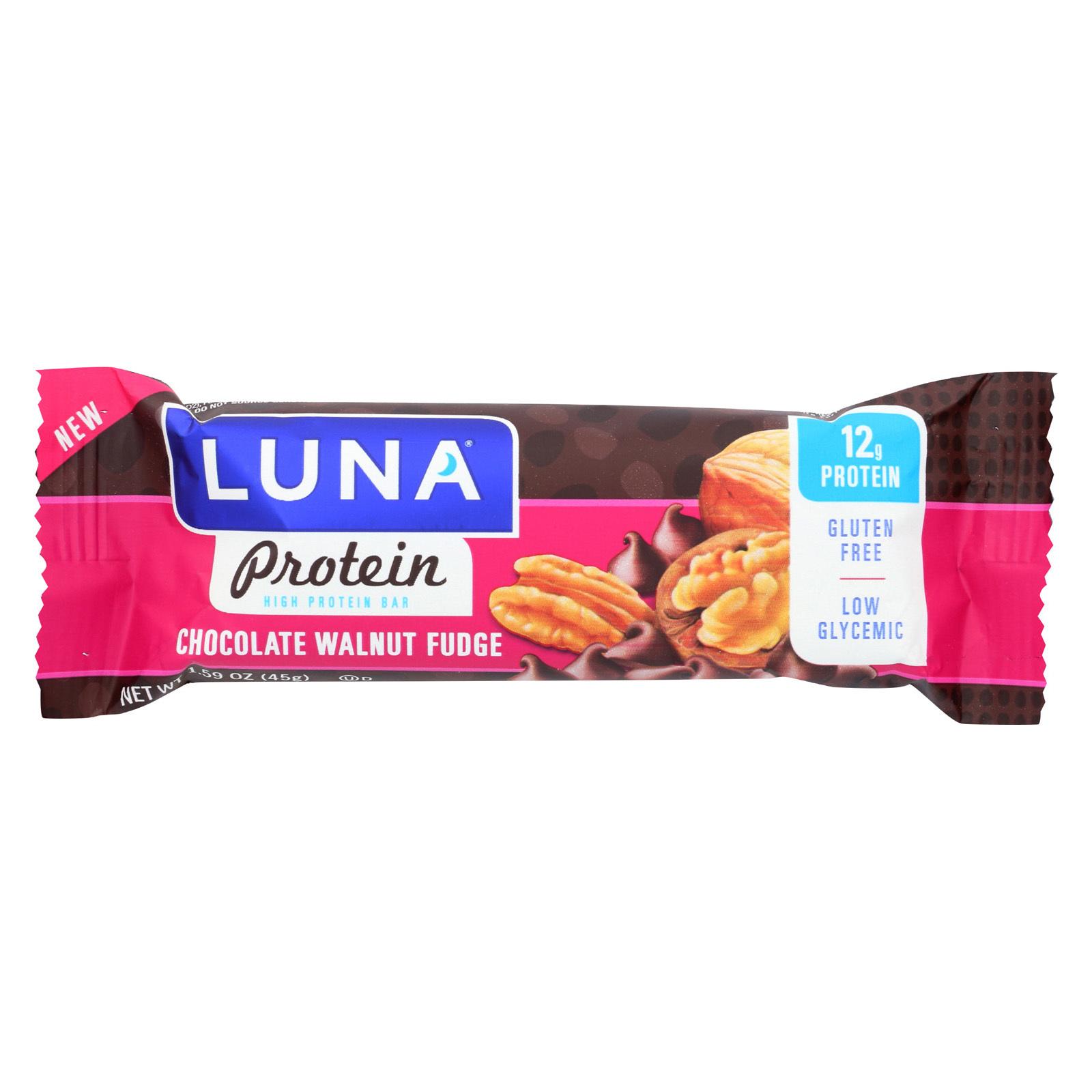 Luna Protein Bar - Chocolate Walnut Fudge - Case of 12 - 1.59 oz