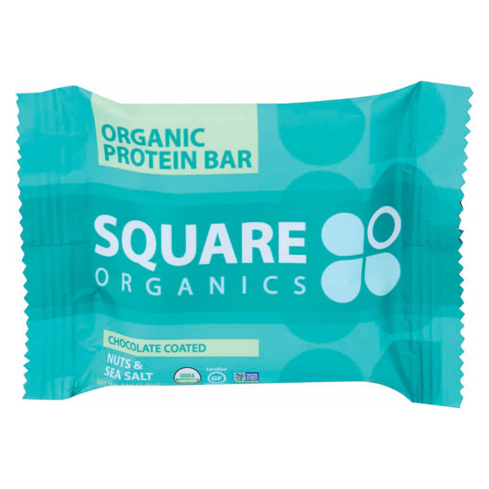 Square Organics Organic Protein Bar - Chocolate Coated Nuts & Sea Salt - Case of 12 - 1.6 oz
