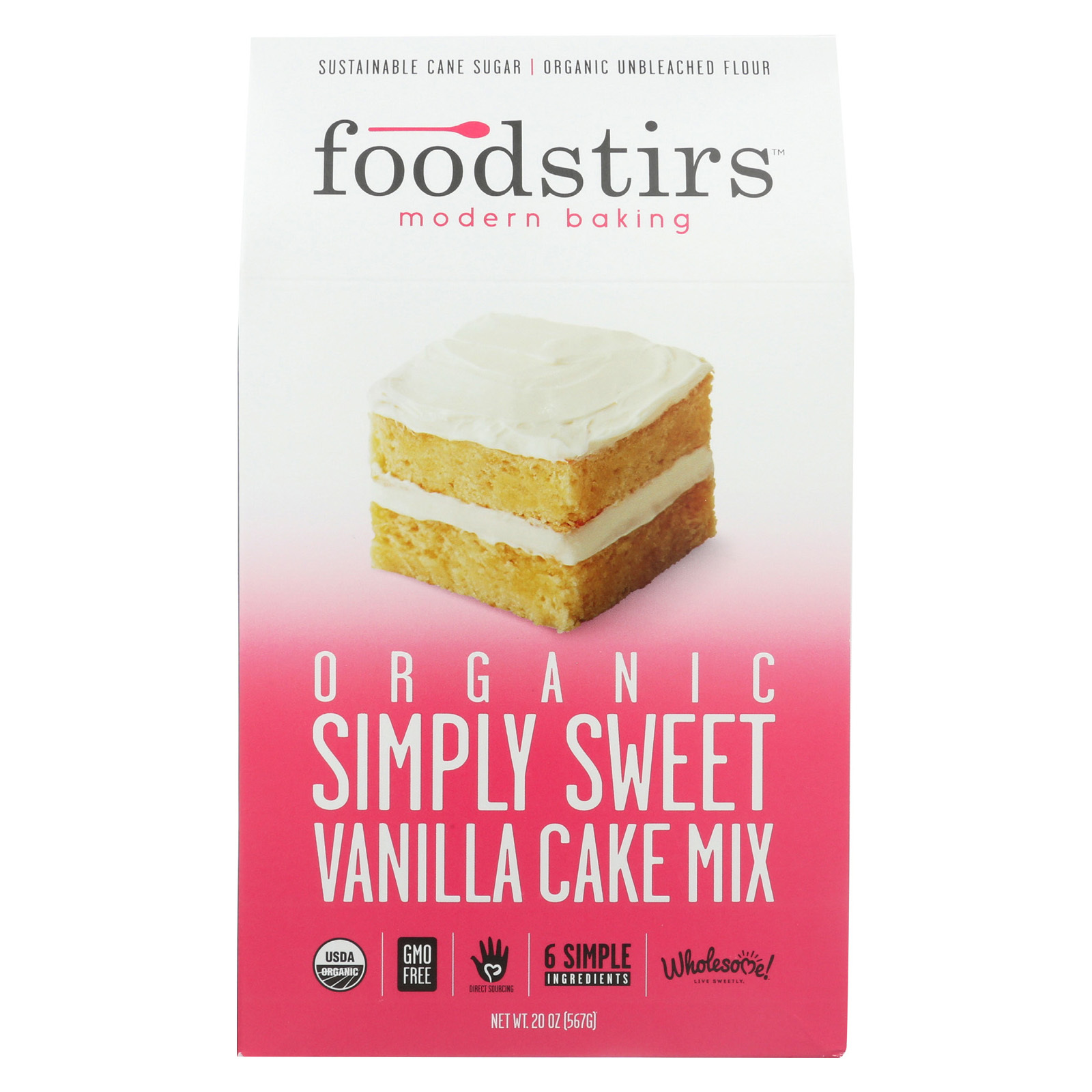 Foodstirs Organic Baking Mix - Sweet Vanilla Cake - Case of 6 - 20 oz