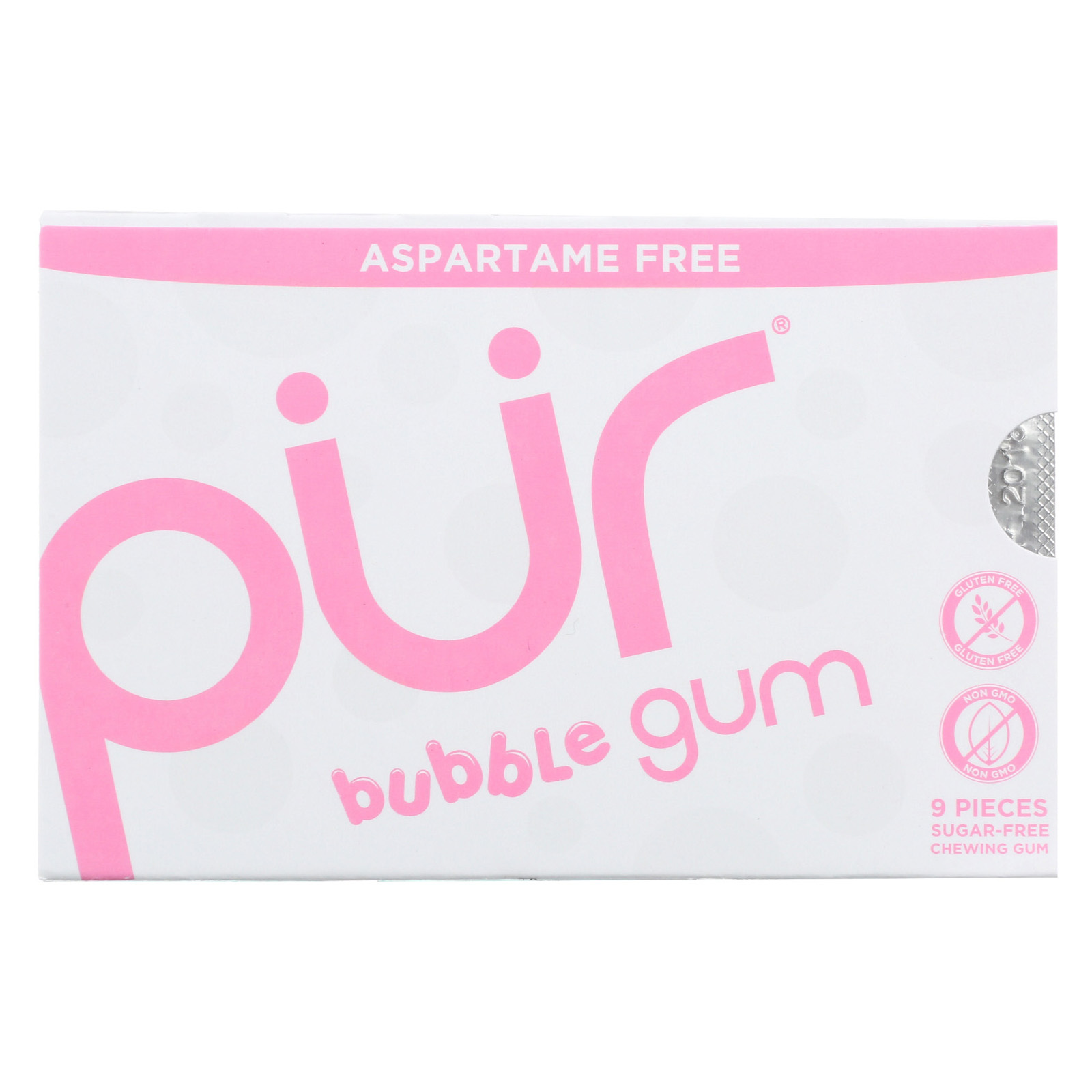 Pur Gum Bubble Gum - Sugar Free - Case of 12 - 9 count