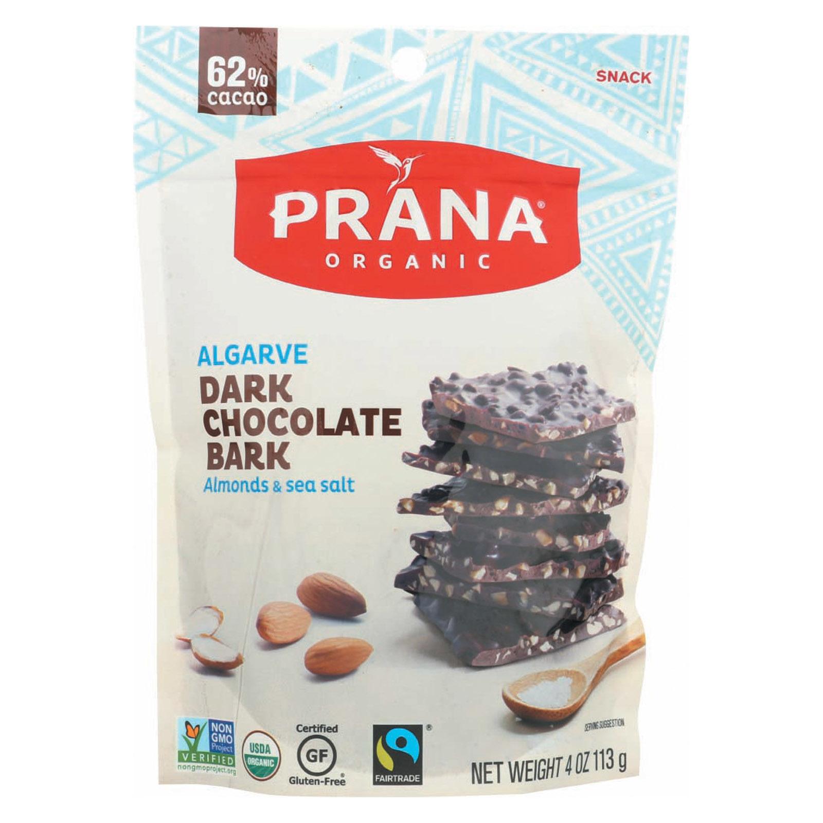 Prana Organics Organic 62% Chocolate Bark - Almonds and Sea Salt - Case of 8 - 4 oz