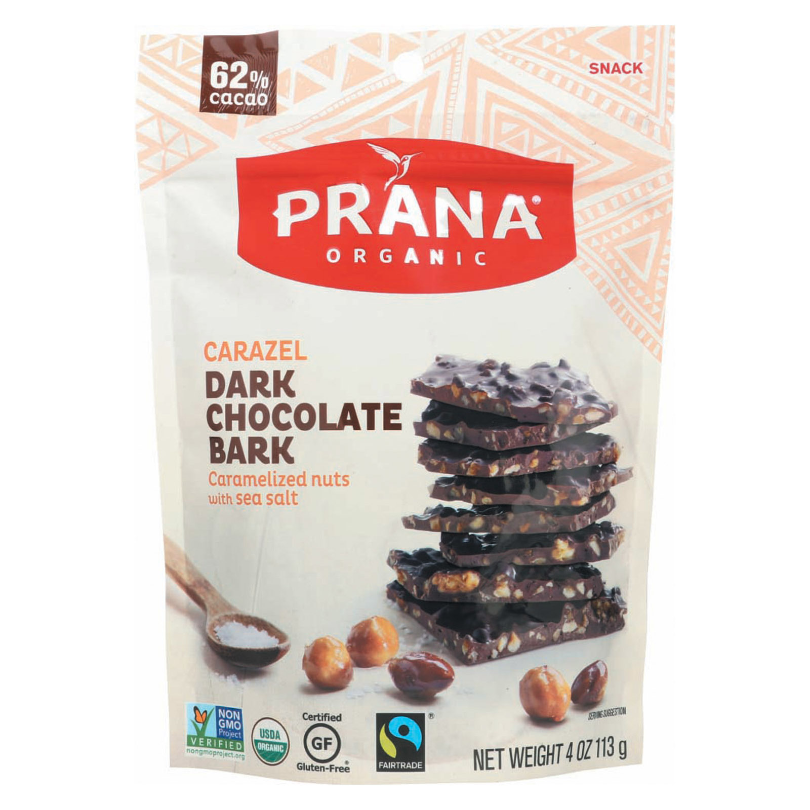 Prana Organics Organic 62% Chocolate Bark - Caramelized Nuts - Case of 8 - 4 oz