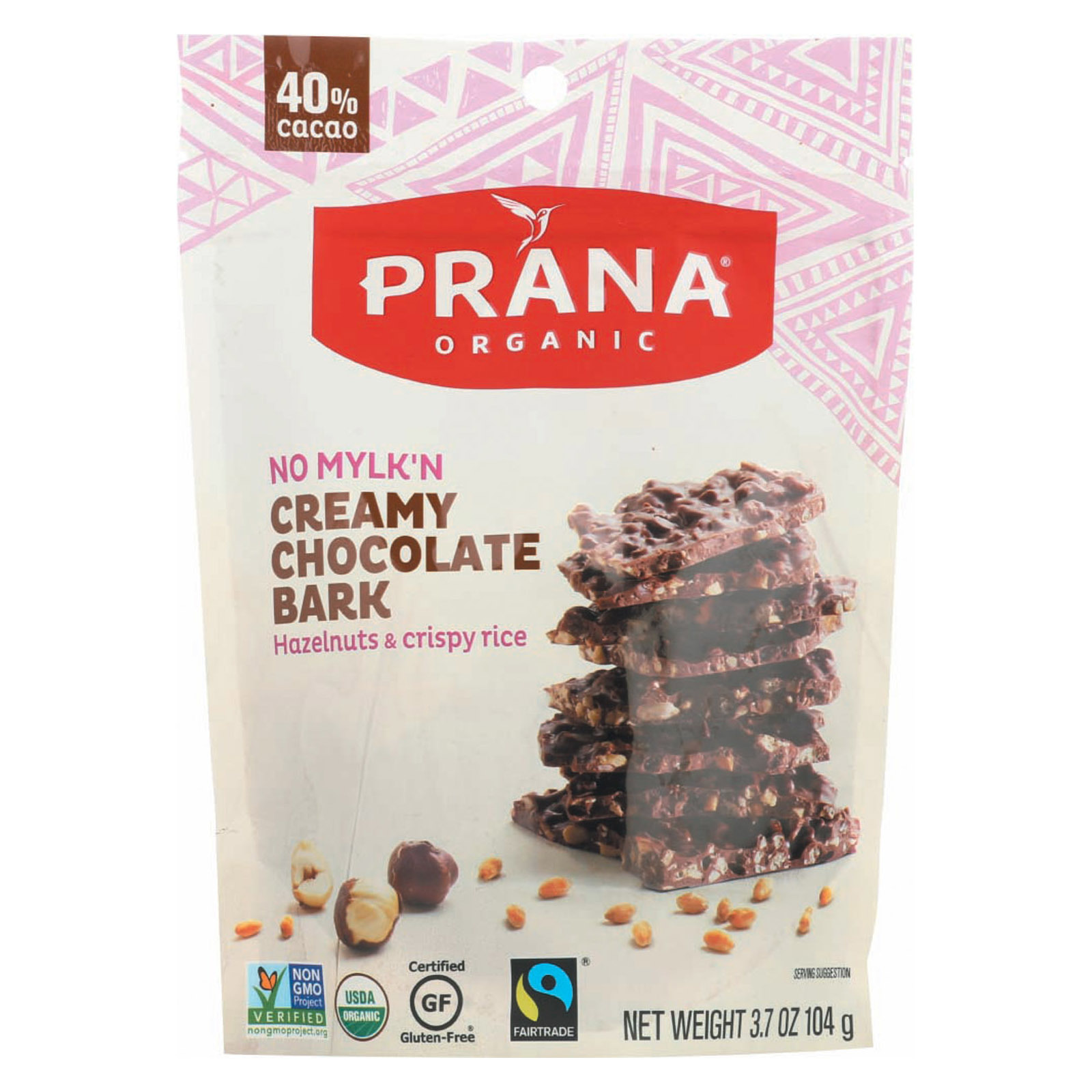 Prana Organics Organic 40% Chocolaty Bark - Hazelnuts and Crispy Rice - Case of 8 - 4 oz