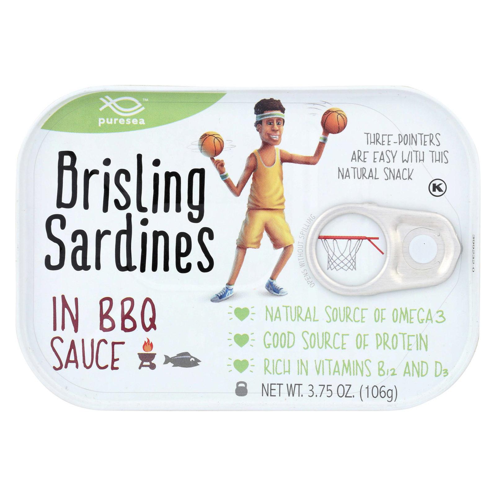 Pure Sea Sardines - Brisling - BBQ - Case of 12 - 3.75 oz