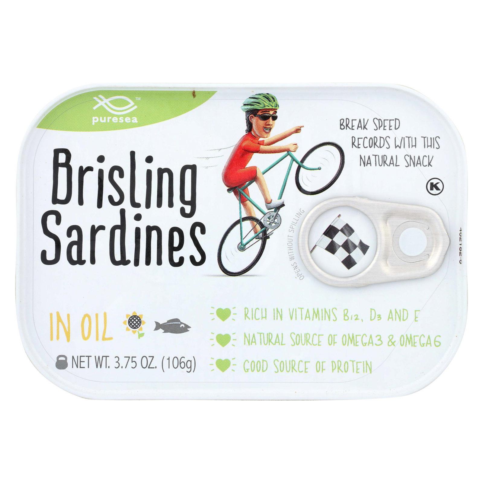 Pure Sea Sardines - Brisling - Oil - Case of 12 - 3.75 oz