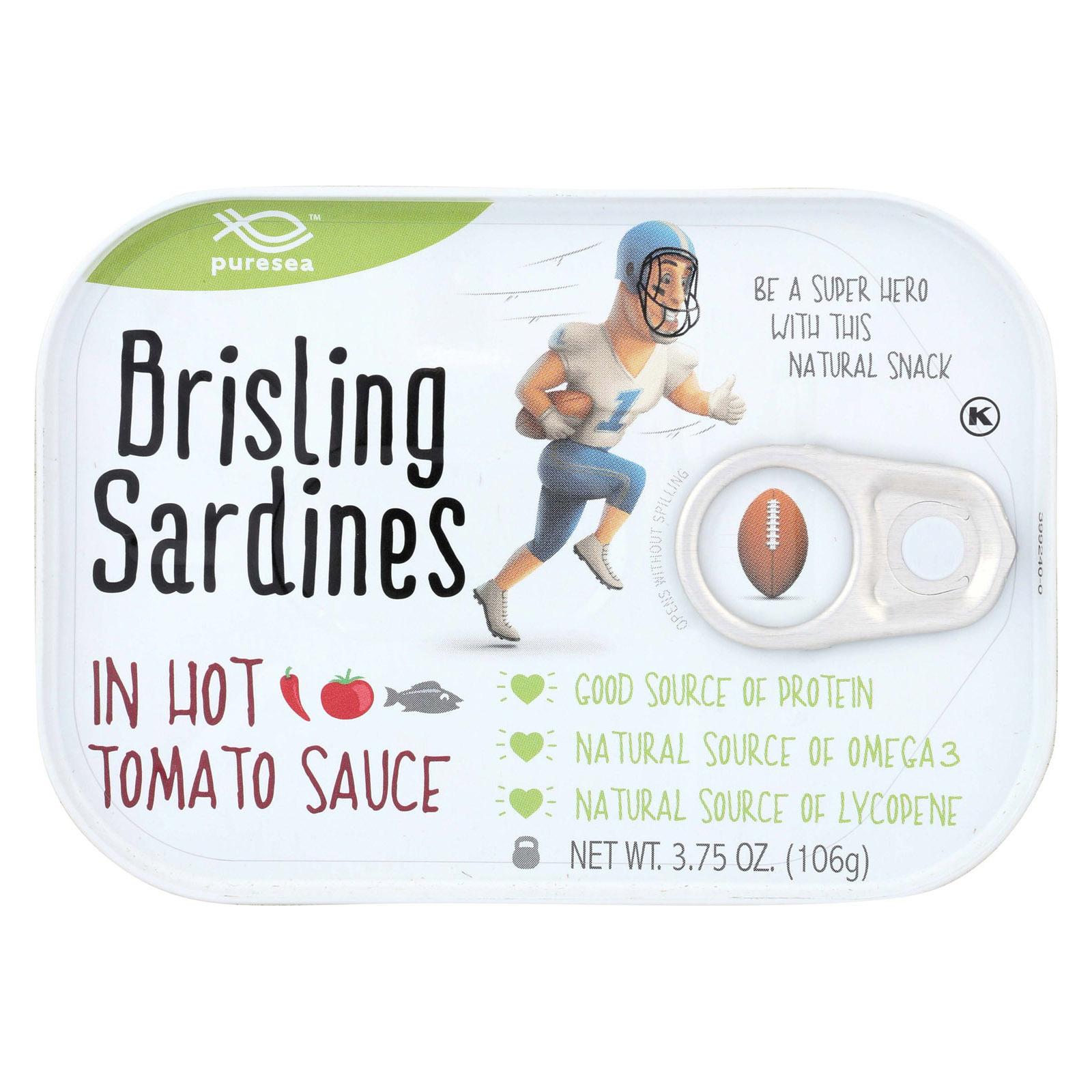 Pure Sea Sardines - Brisling - Hot Tom - Case of 12 - 3.75 oz