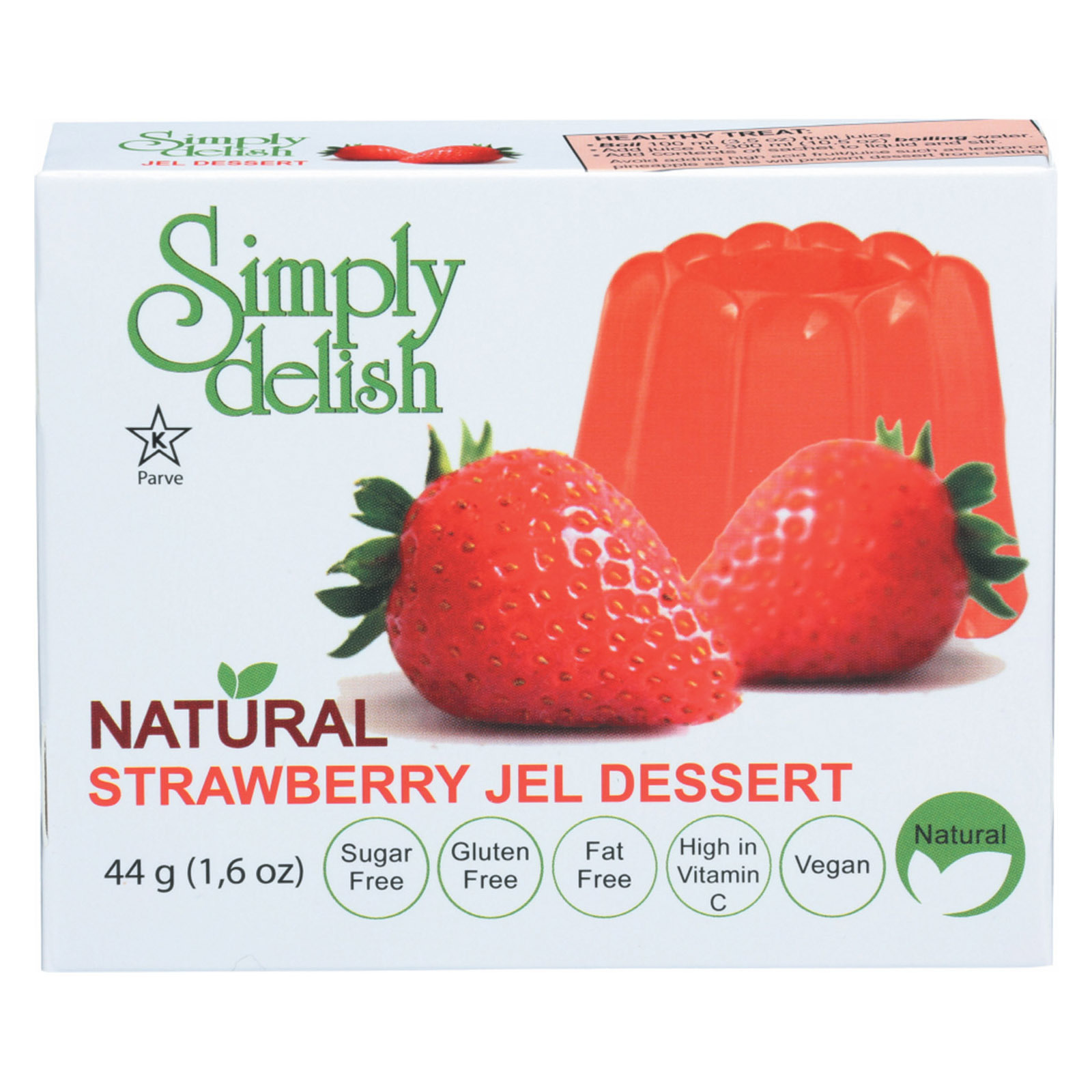 Simply Delish Jel Dessert - Strawberry - Case of 6 - 1.6 oz.