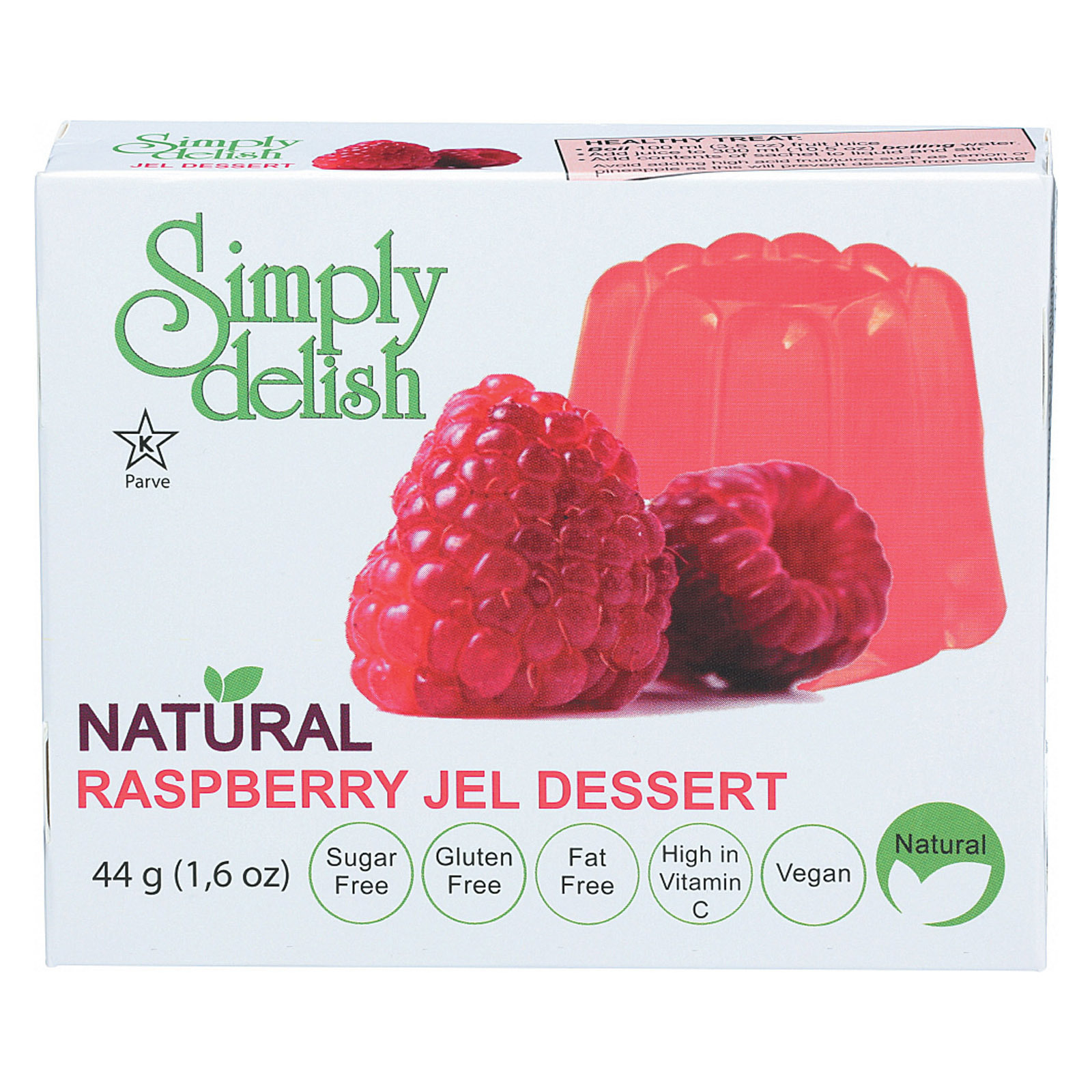 Simply Delish Jel Dessert - Raspberry - Case of 6 - 1.6 oz.
