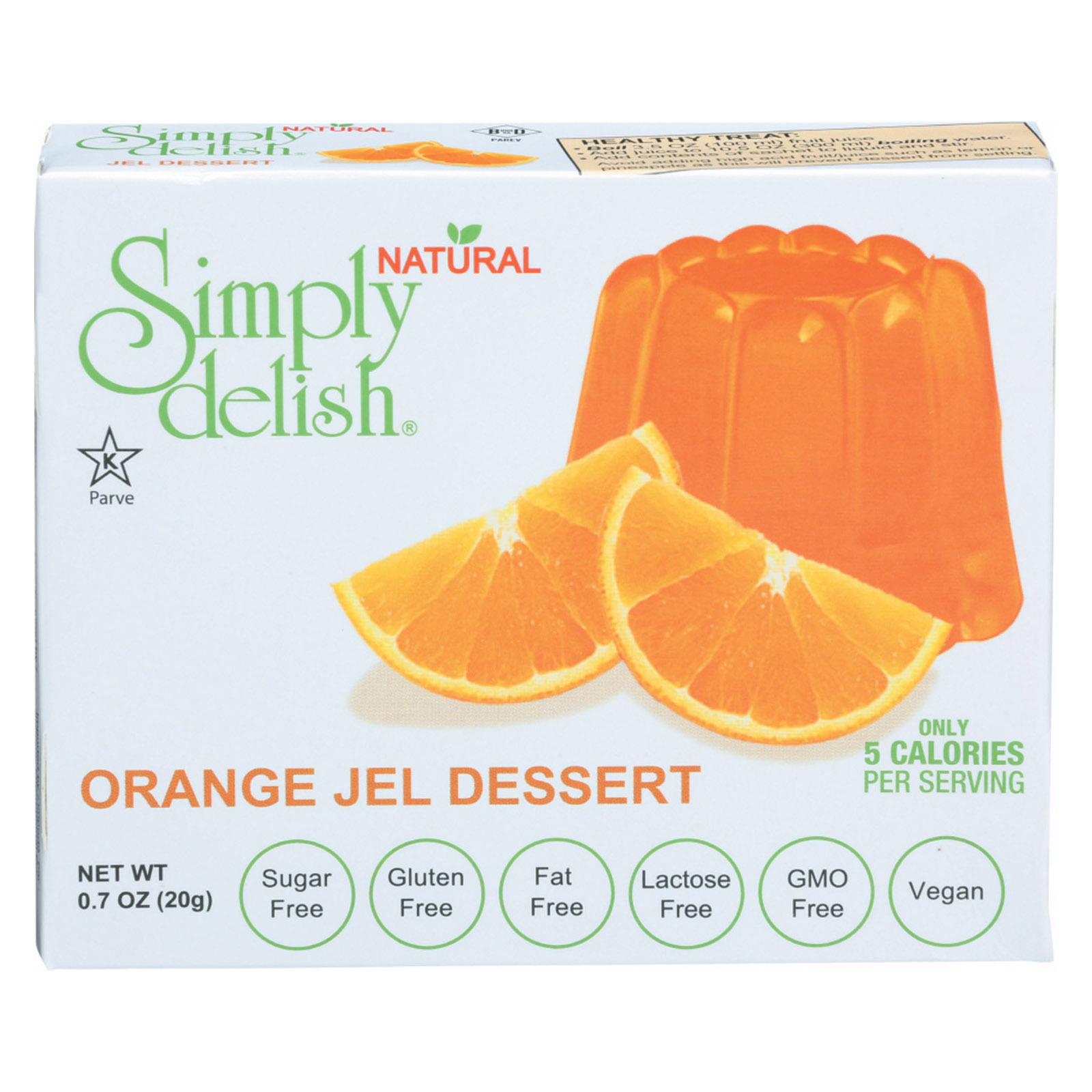 Simply Delish Natural Jel Dessert - Orange - Case of 6 - 1.6 oz.