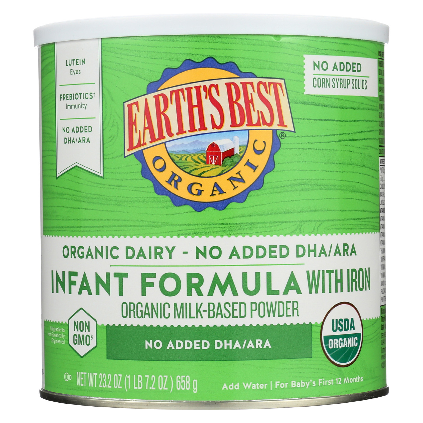 Earth's Best Infant Formula - Organic - Iron - Case of 4 - 23.2 oz
