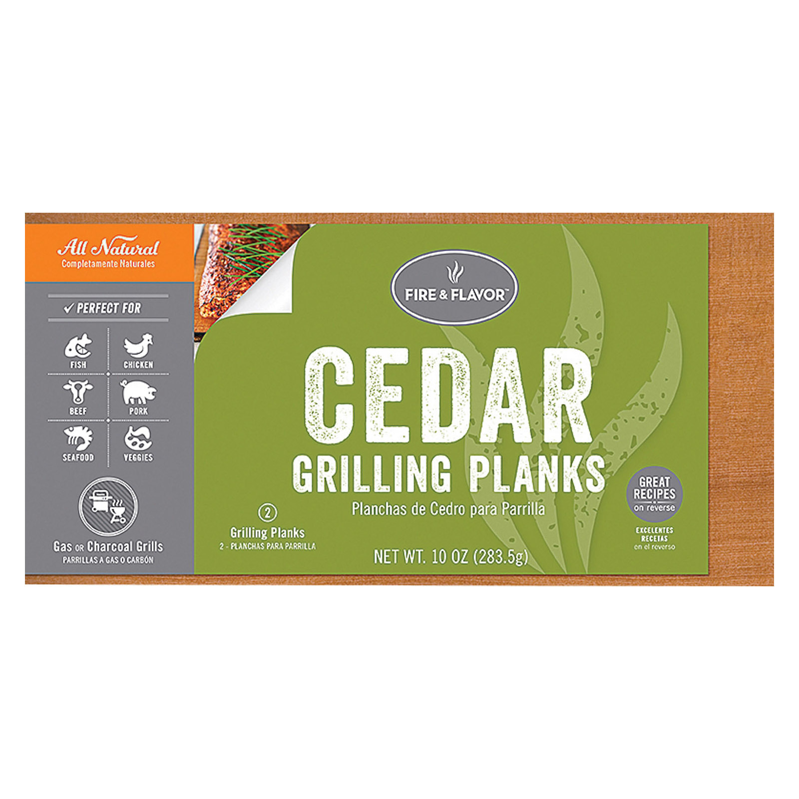 Fire and Flavor Grilling Plank - Cedar - 11 - Case of 10 - 2 count