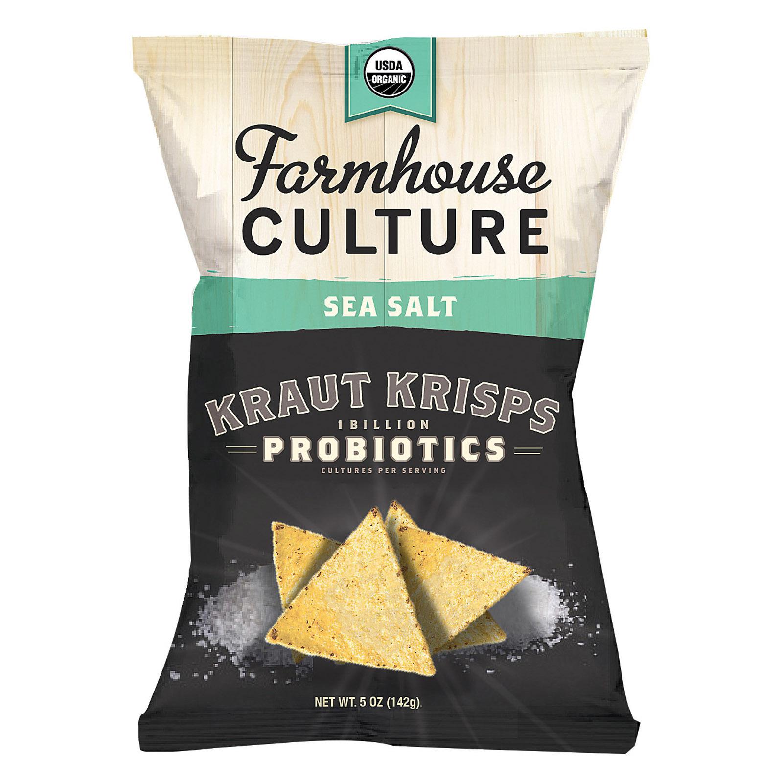 Farmhouse Culture Organic Probiotic Kraut Krisps - Sea Salt - Case of 12 - 5 oz
