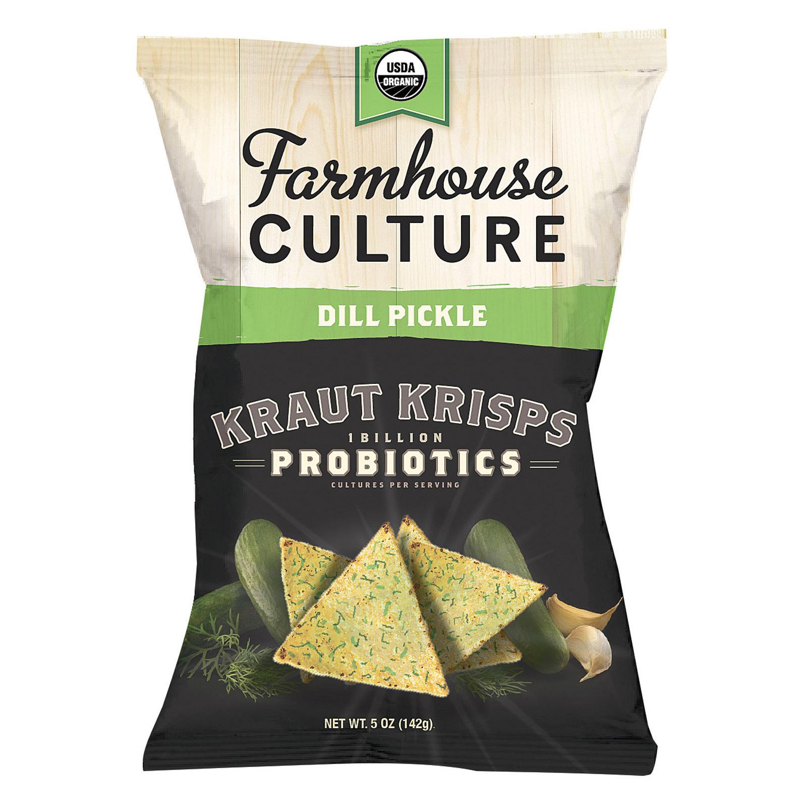 Farmhouse Culture Organic Probiotic Kraut Krisps - Dill Pickle - Case of 12 - 5 oz