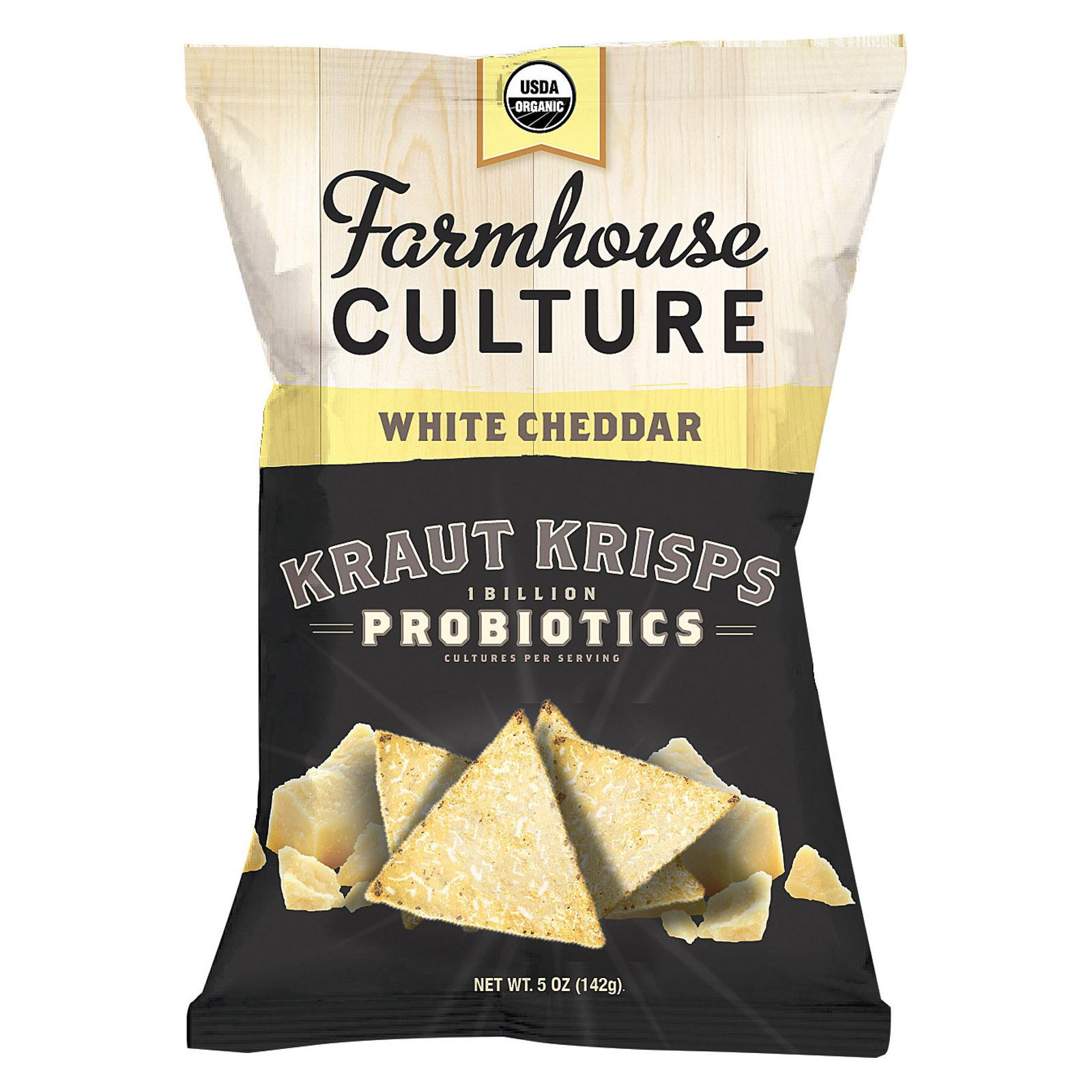 Farmhouse Culture Organic Probiotic Kraut Krisps - White Cheddar - Case of 12 - 5 oz