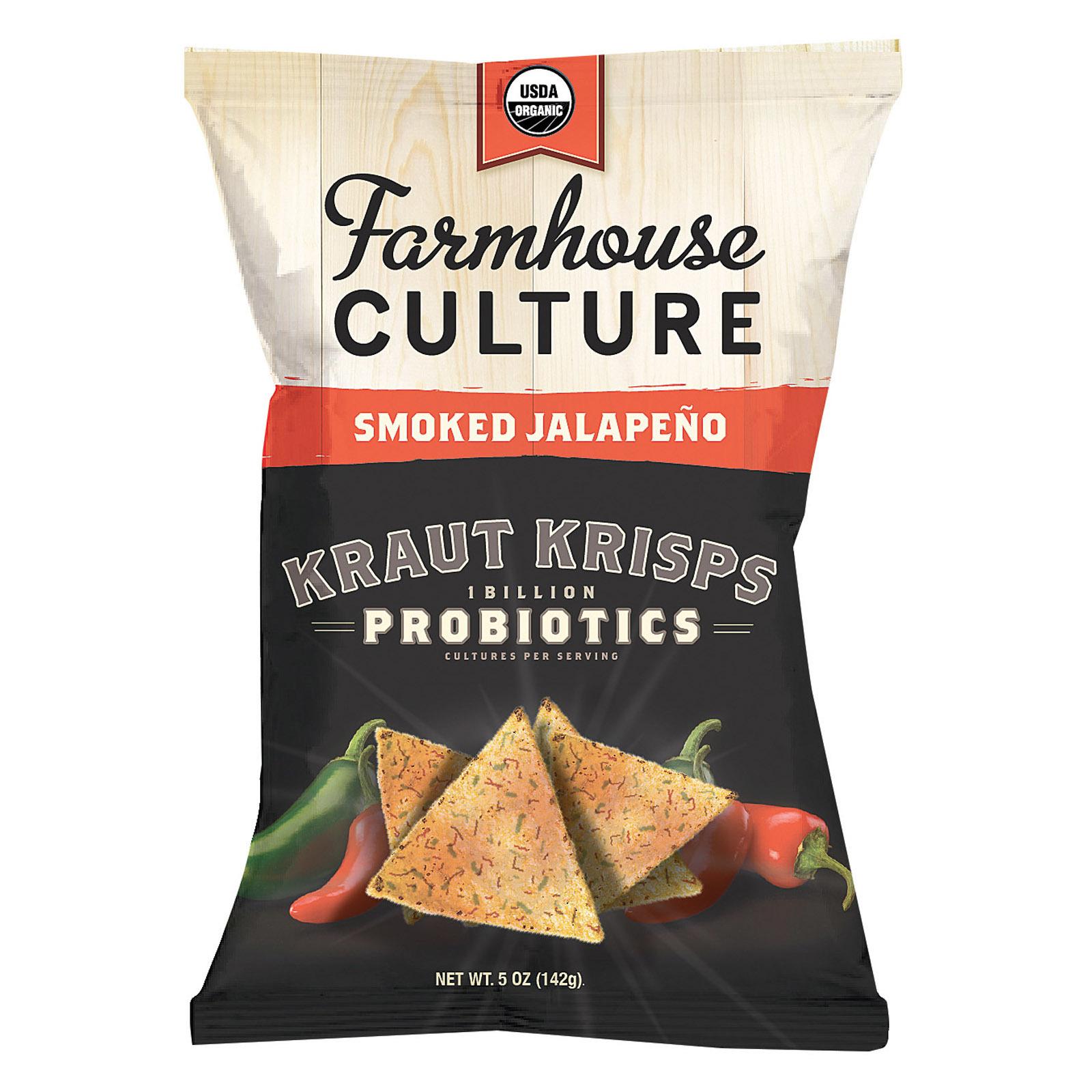 Farmhouse Culture Organic Probiotic Kraut Krisps - Smoked Jalapeno - Case of 12 - 5 oz