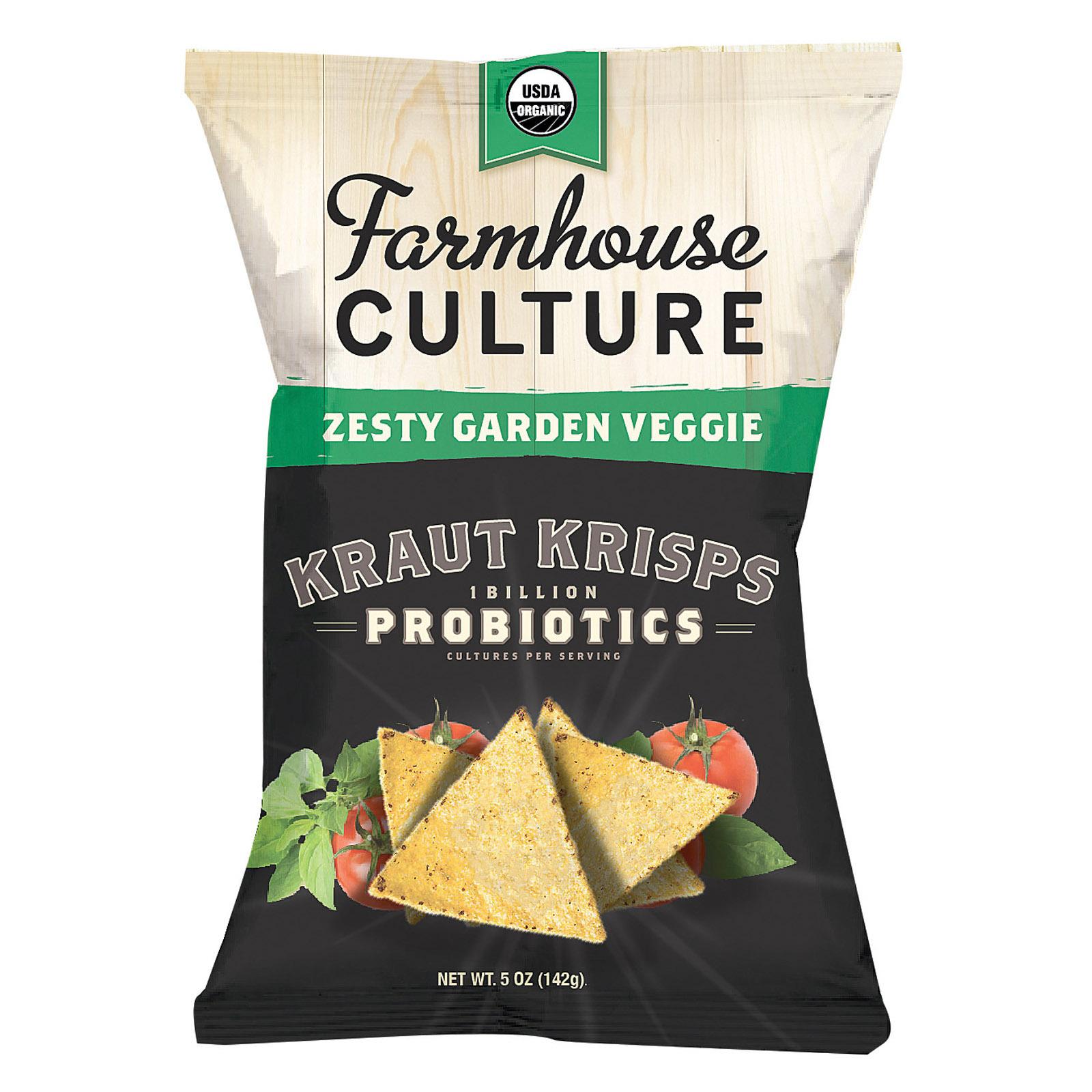 Farmhouse Culture Organic Probiotic Kraut Krisps - Zesty Garden Veggie - Case of 12 - 5 oz