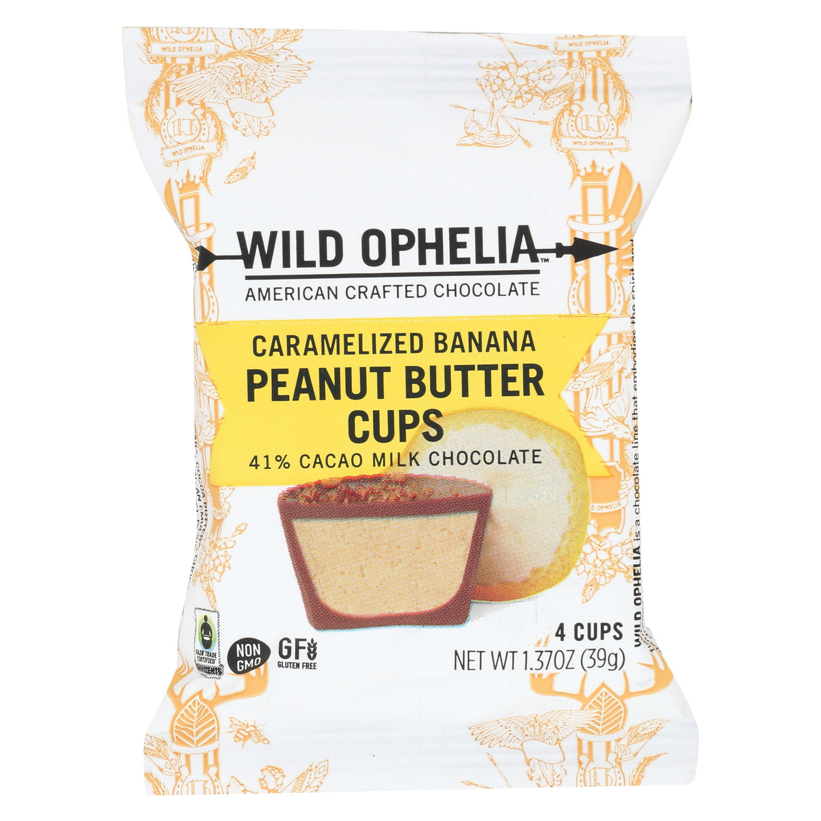 Wild Ophelia Peanut Butter Cup - Caramelzed Ban - Case of 12 - 1.37 oz