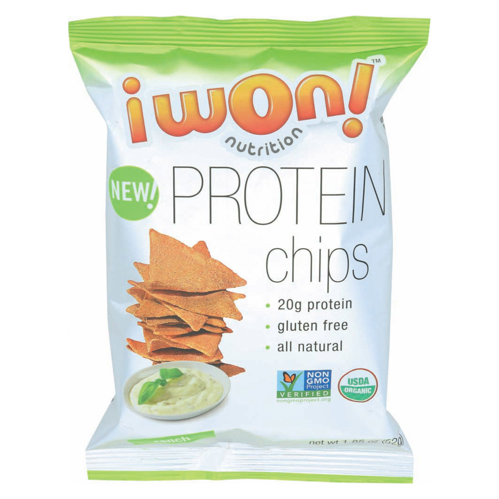 I Won! Nutrition Co Chips - Organic - Ranch - Protein - Case of 8 - 1.5 oz