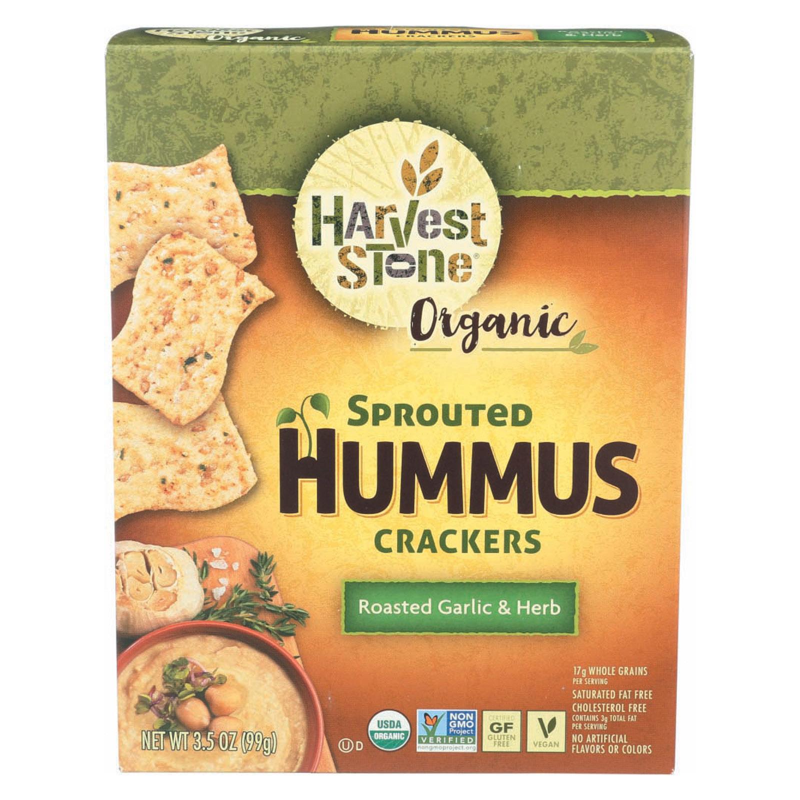 Harvest Stone Organic Hummus Crackers - Roasted Garlic & Herb - Case of 6 - 3.5 oz