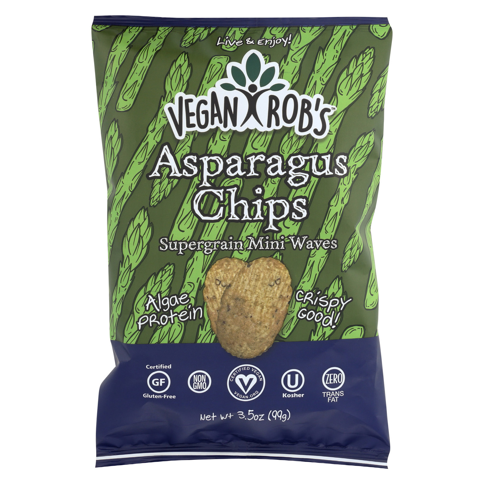 Vegan Rob's Supergrain Mini Waves Chips - Asparagus - Case of 12 - 3.5 oz