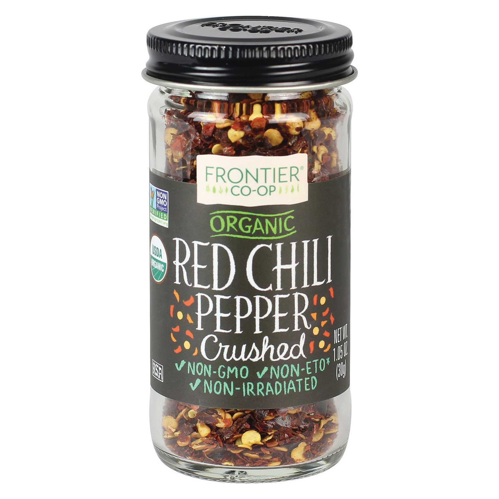 Frontier Natural Products Coop Chili Pepper - Organic - Red - Crushed - 1.05 oz