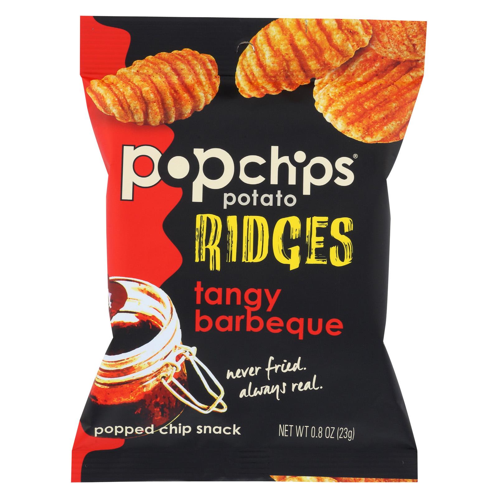 Popchips Potato Chip - Ridges - Tangy BBQ - Case of 24 - .8 oz