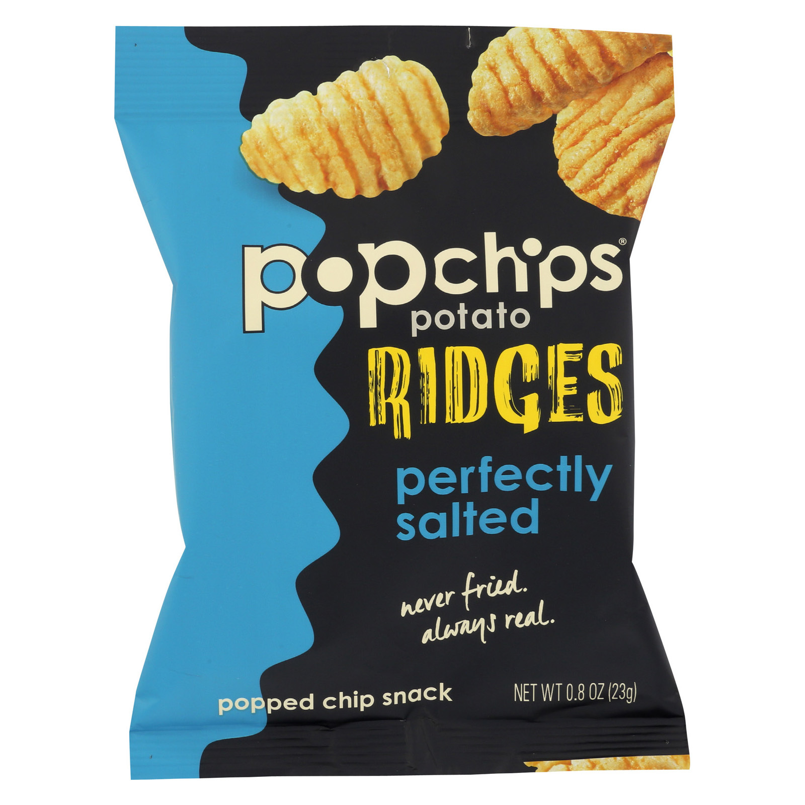 Popchips Potato Chip - Ridges - Sea Salt - Case of 24 - .8 oz