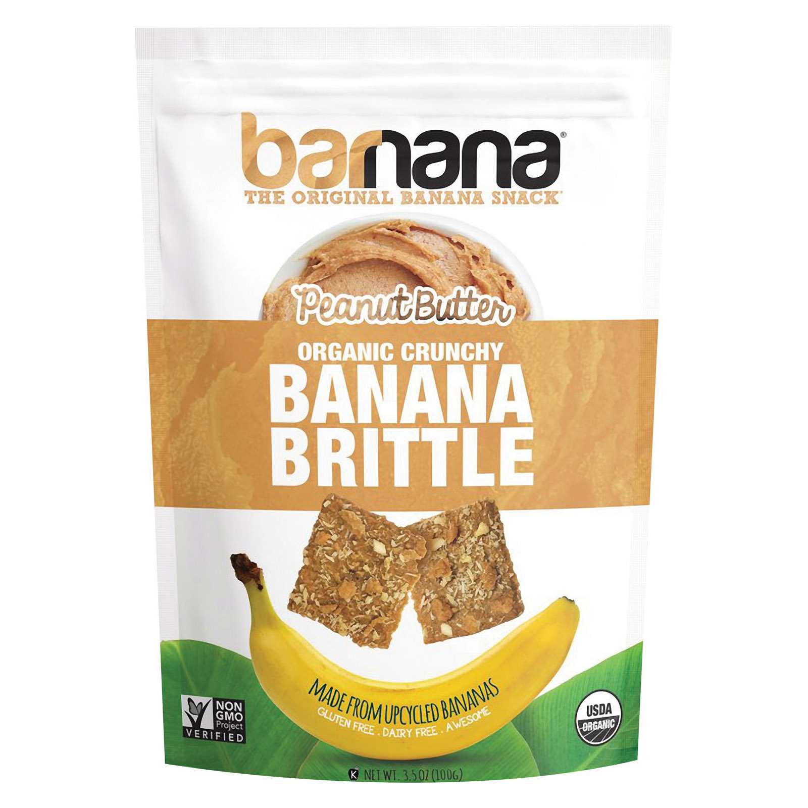 Barnana Ban Brittle - Organic - Peanut Butter - Case of 10 - 3.5 oz