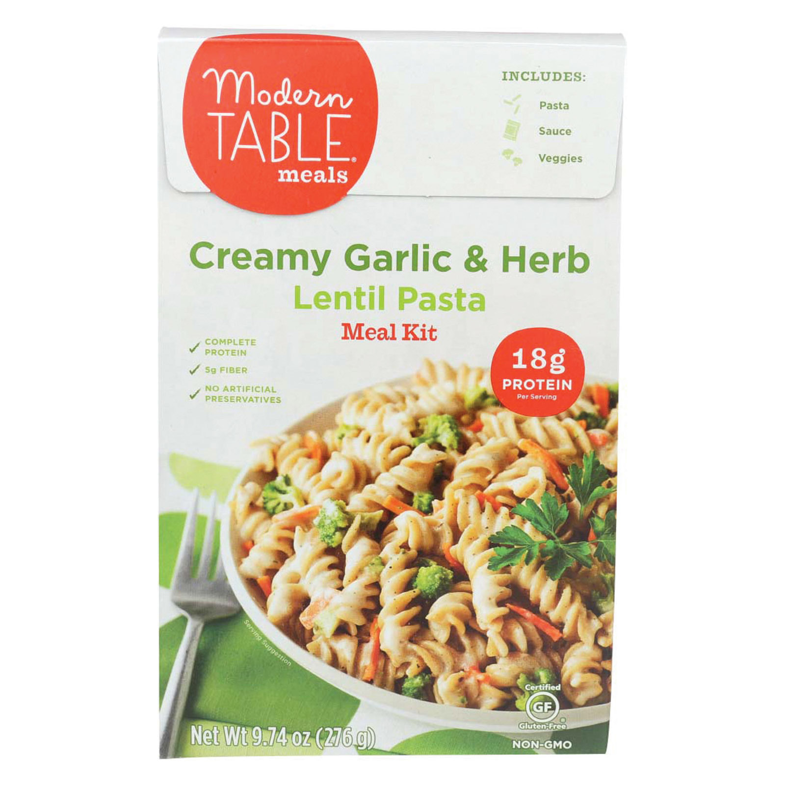 Modern Table Lentil Pasta - Meal Kit - Creamy Garlic - Case of 6 - 9.74 oz