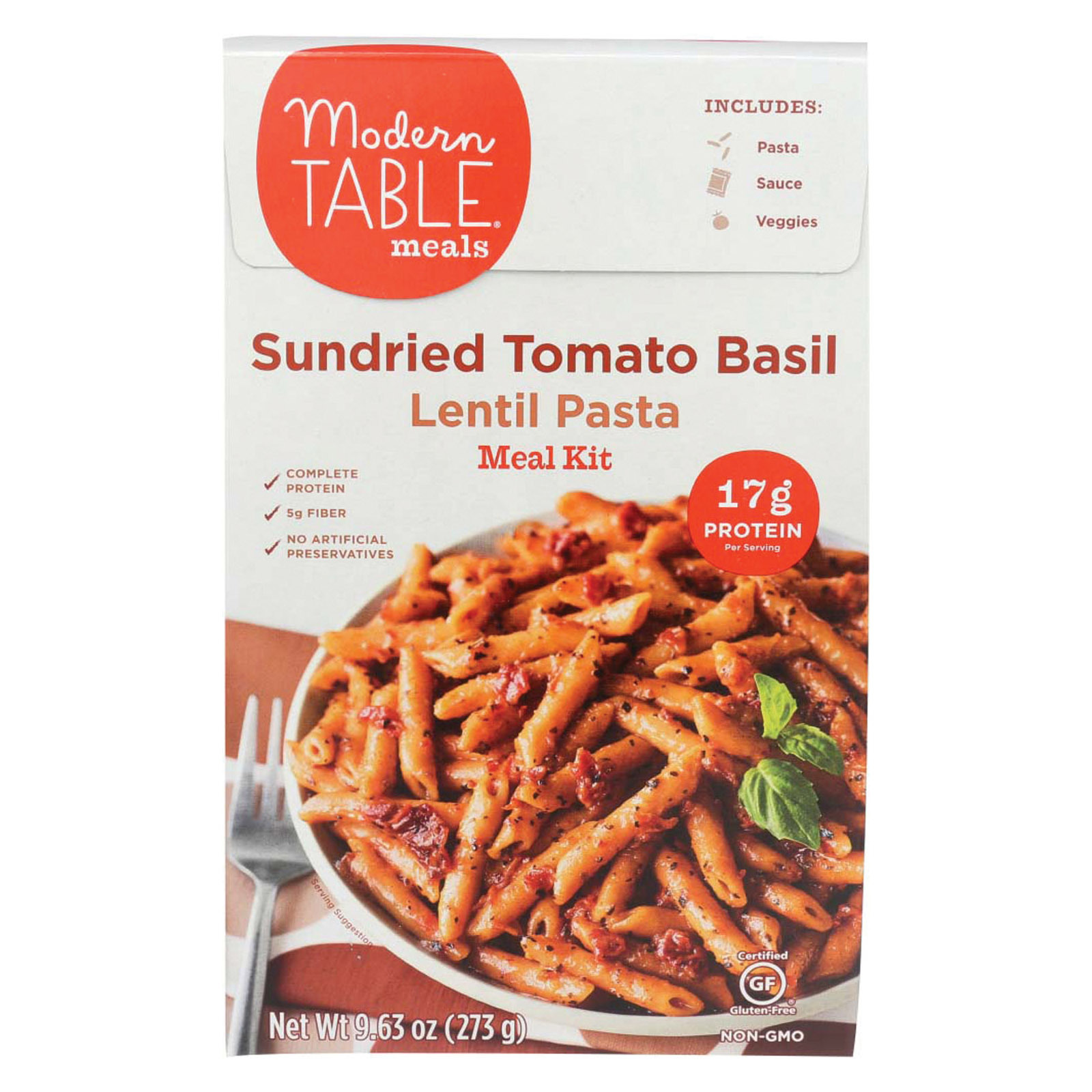 Modern Table Lentil Pasta - Meal Kit - Sundried Tomato - Case of 6 - 9.63 oz