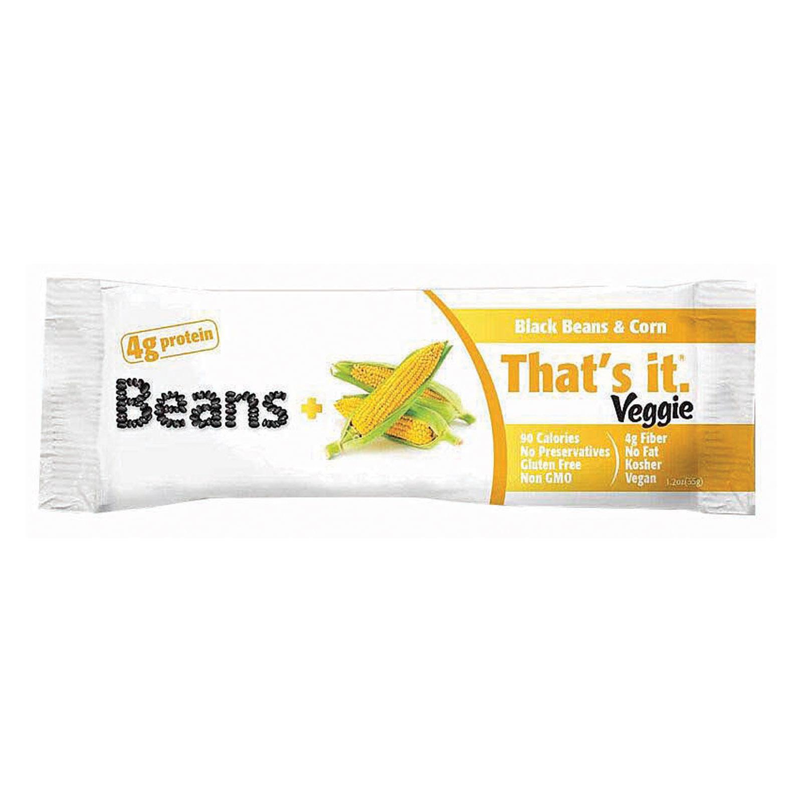 That's It Veggie Bar - Black Bean and Corn - Case of 12 - 1.2 oz