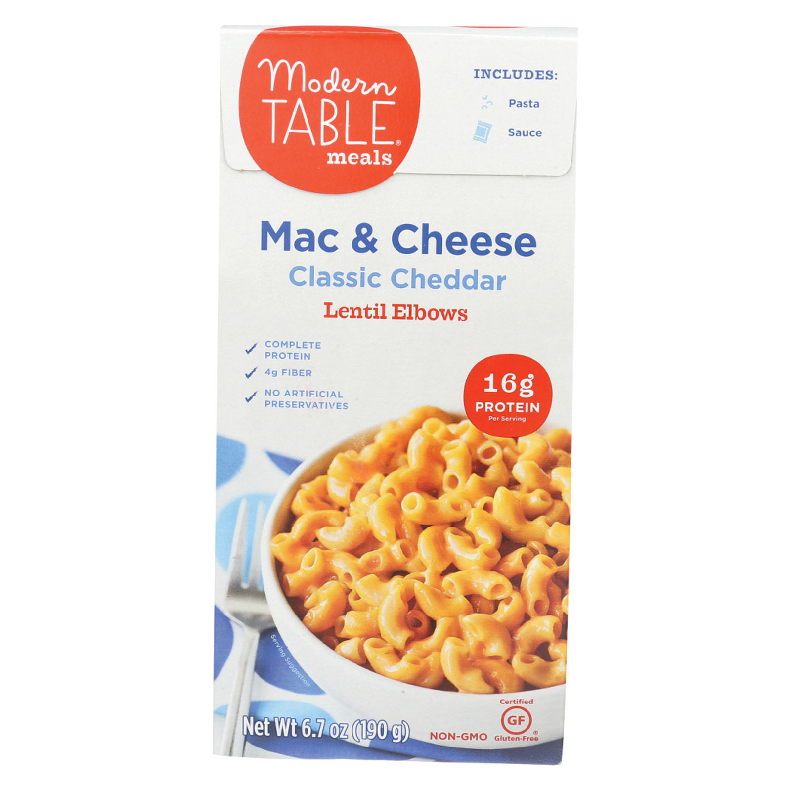 Modern Table Lentil Elbow Mac & Cheese - Classic Cheddar - Case of 6 - 6.7 oz