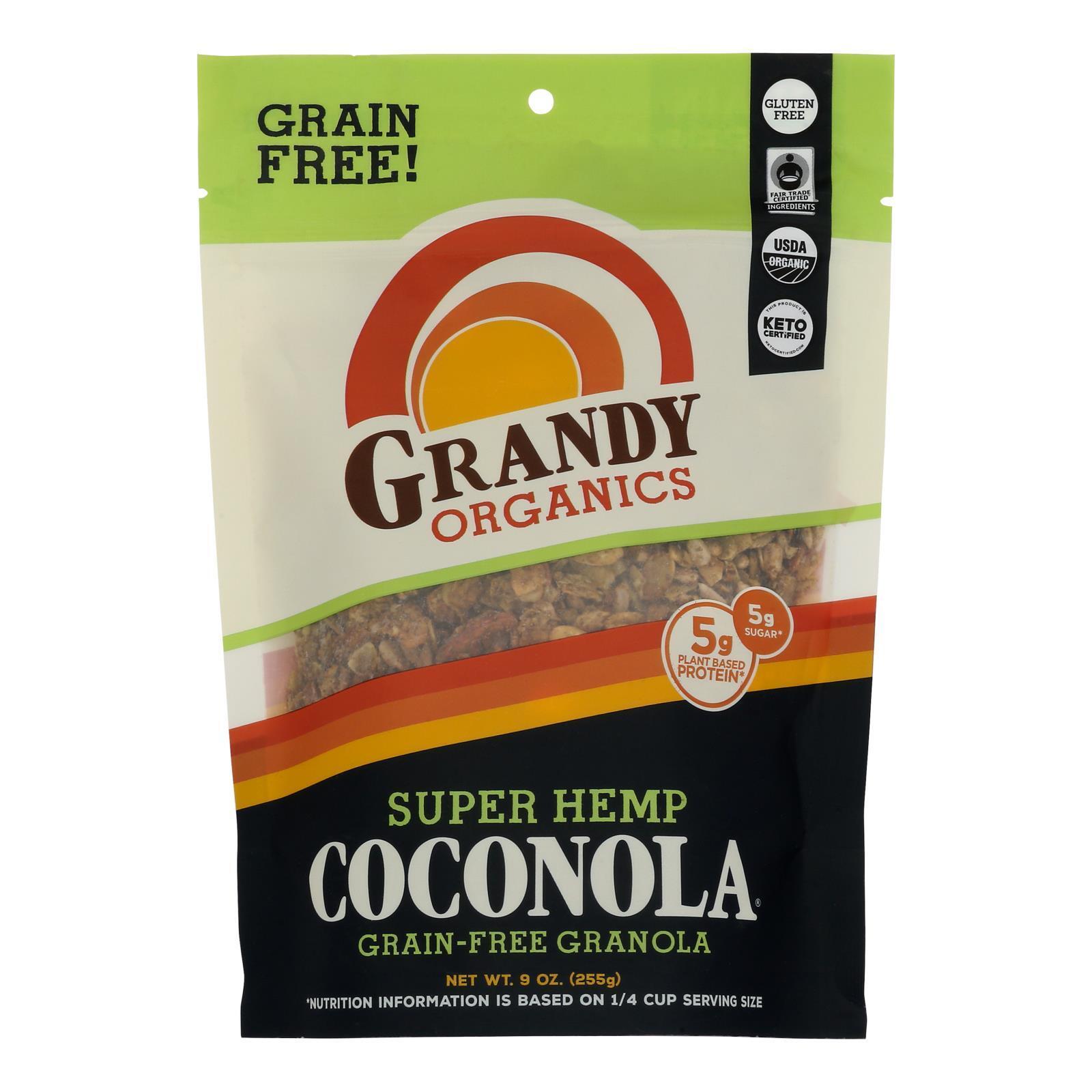 Grandy Oats Organic Granola - Super Hemp Blend Coconola - Case of 6 - 9 oz