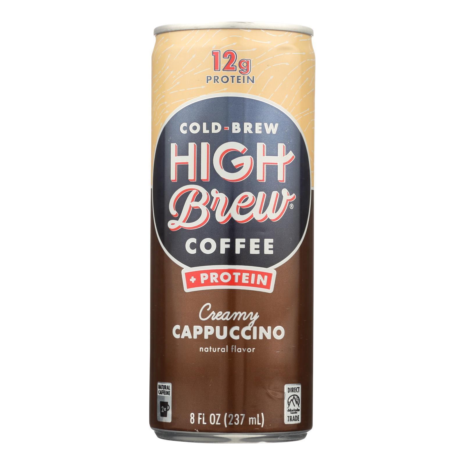 High Brew Coffee Cold Brew Coffee - Creamy Cappuccino - Case of 12 - 8 fl oz