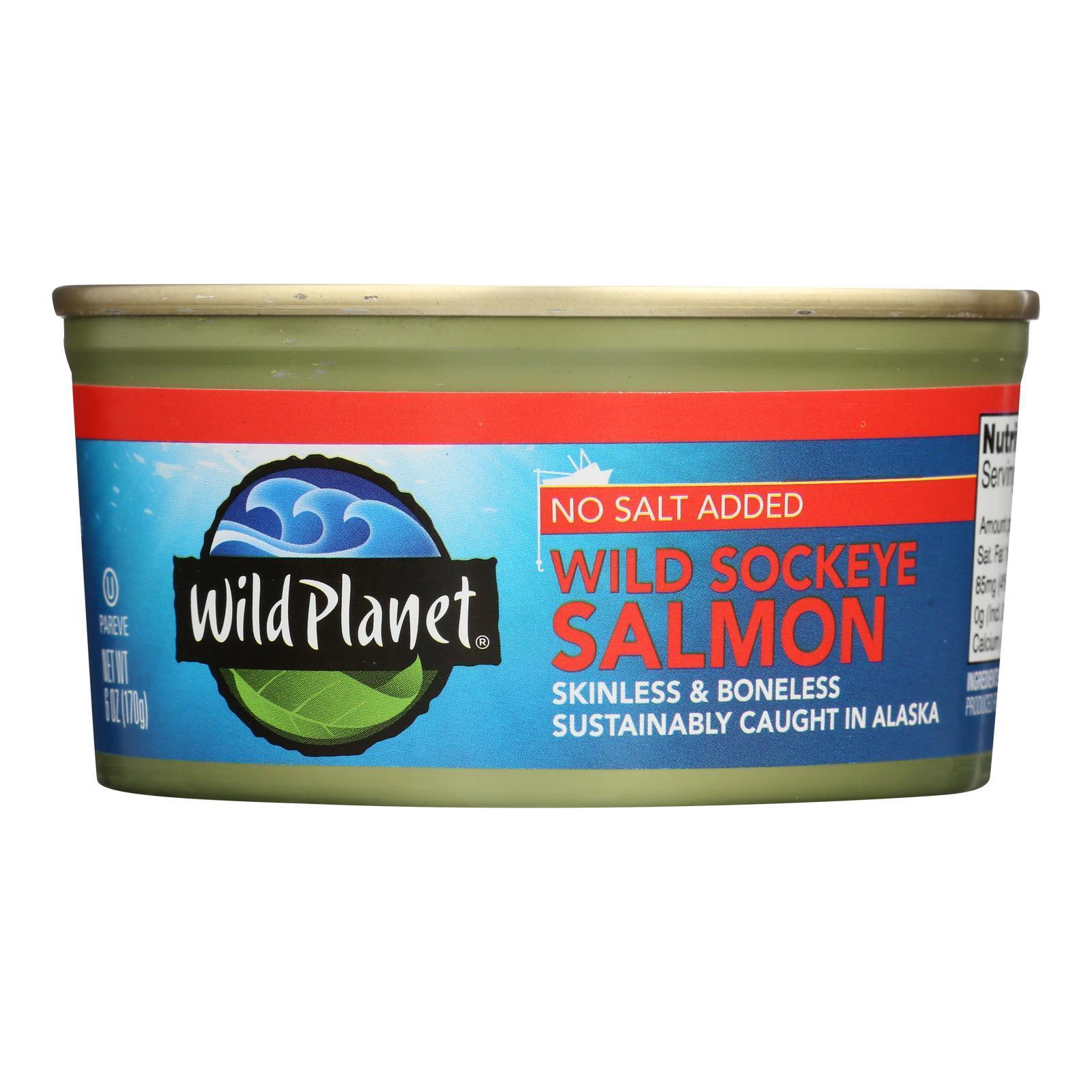Wild Planet Wild Sockeye Salmon - No Salt Added - Case of 12 - 6 oz
