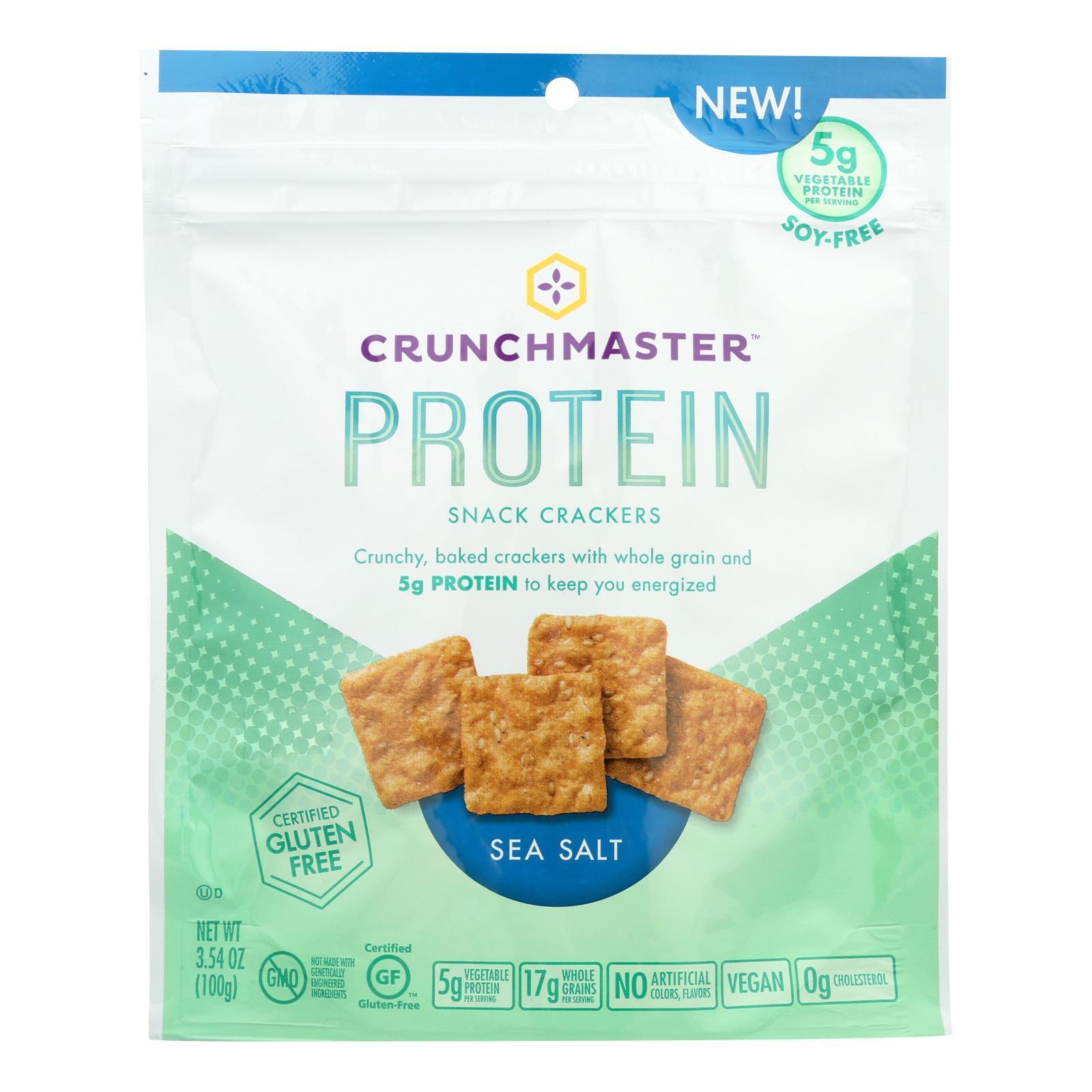 Crunchmaster Protein Crackers - Sea Salt - Case of 12 - 3.54 oz