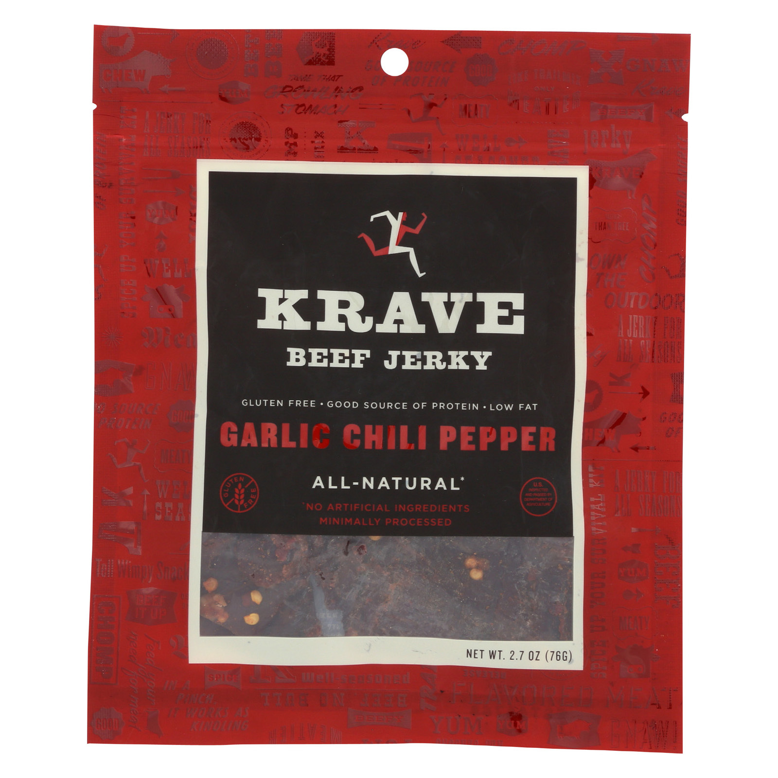 Krave Beef Jerky - Garlic Chili Pepper - Case of 8 - 2.7 oz