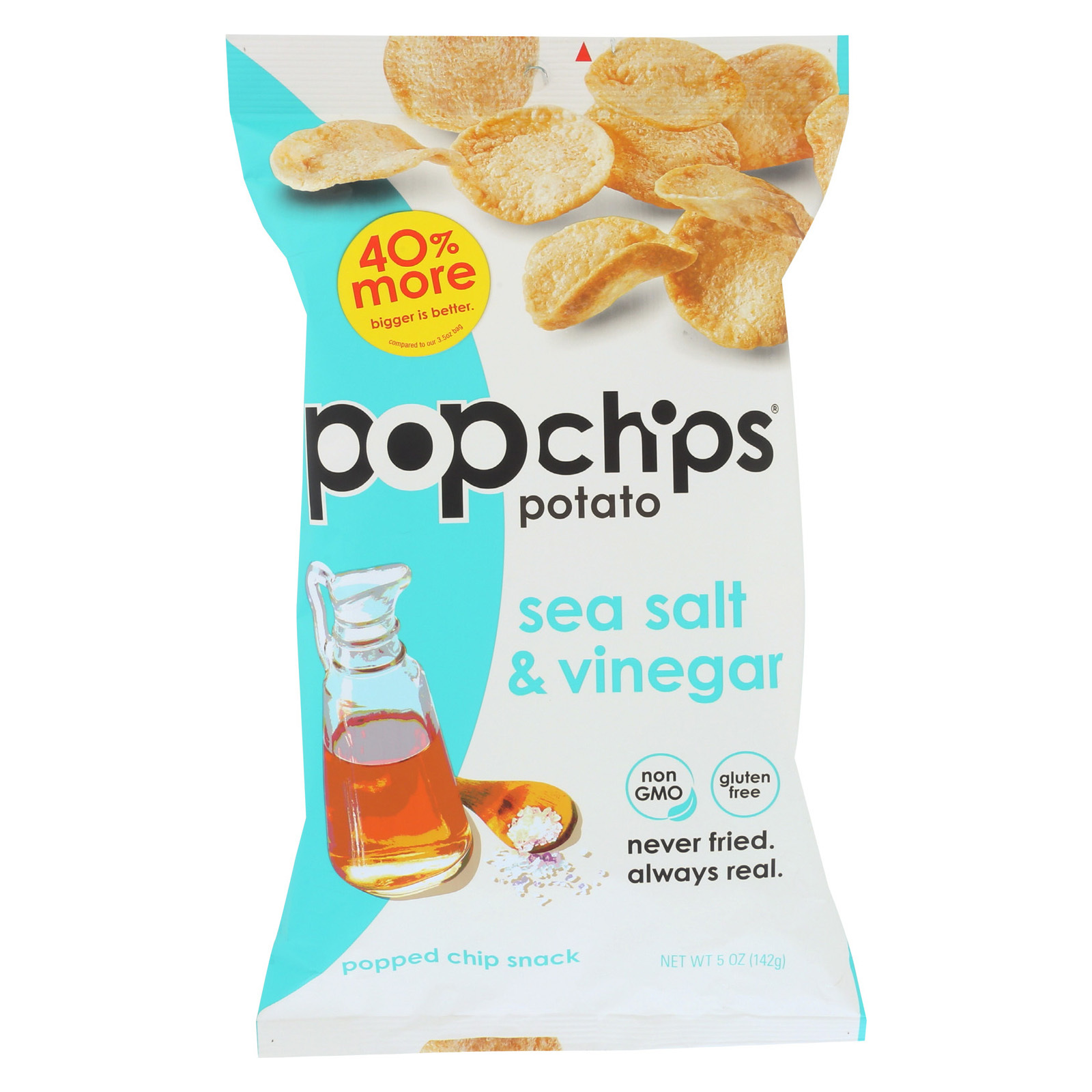 Popchips Potato Chip - Sea Salt - Vinegar - Case of 12 - 5 oz