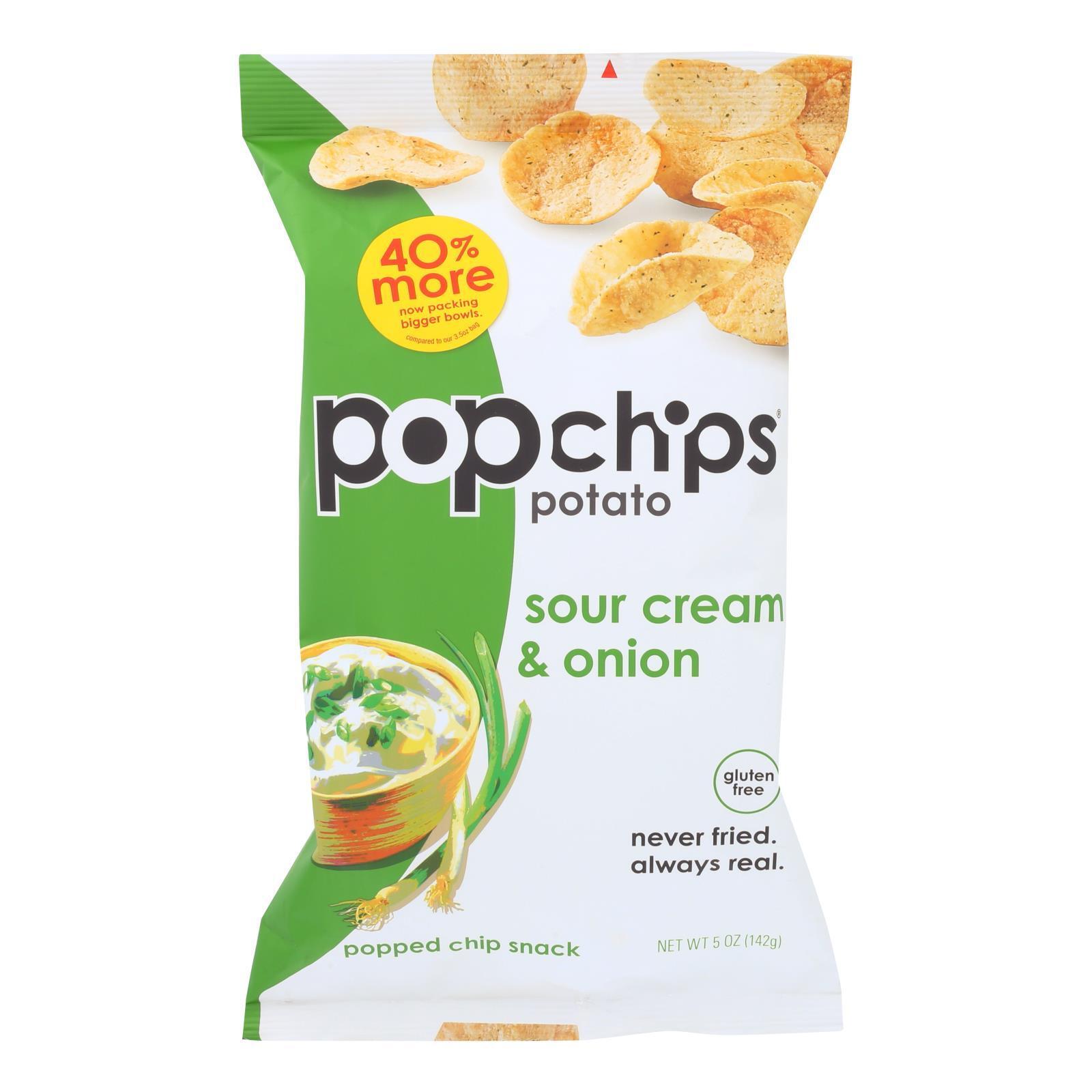 Popchips Potato Chip - Sour Cream - Onion - Case of 12 - 5 oz