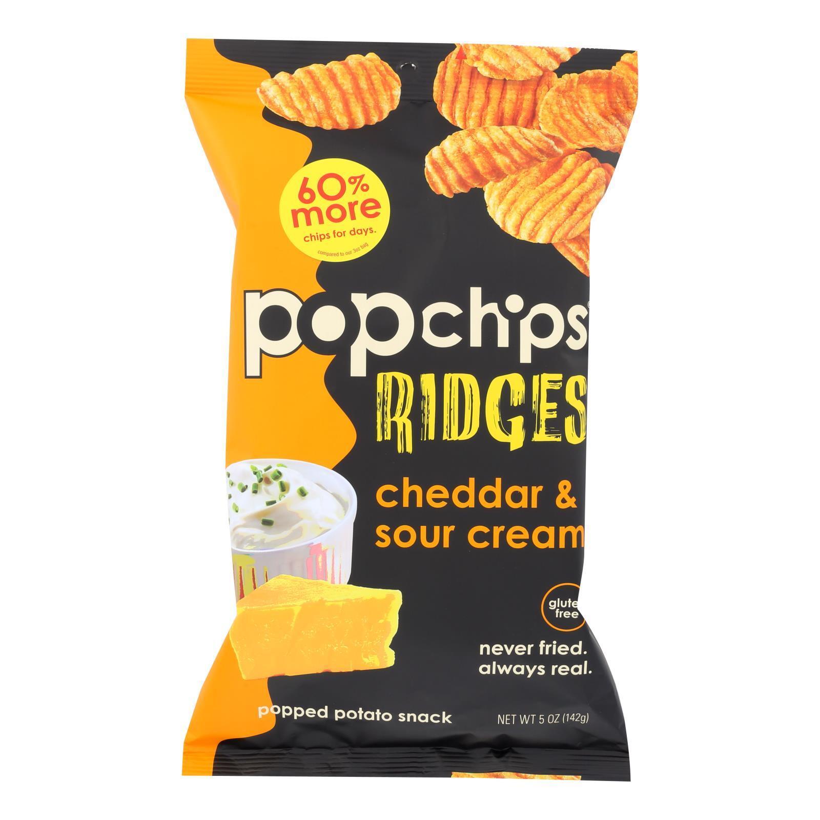 Popchips Potato Chip - Ridges - Cheddar - Sour Cream - Case of 12 - 5 oz