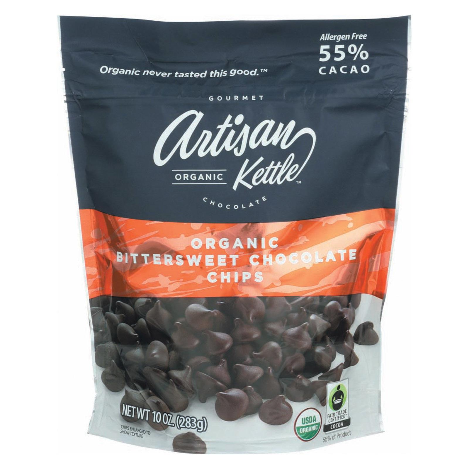 Artisan Kettle Chocolate Chips - Organic - Bittersweet - Case of 6 - 10 oz