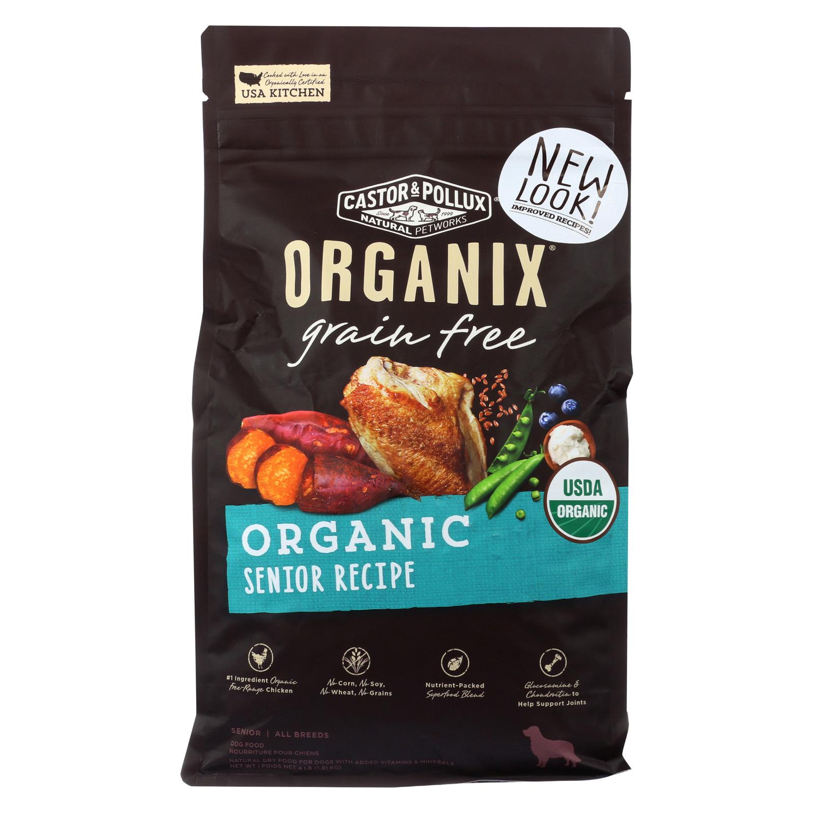 Castor and Pollux Dog - Organic - Senior - Grain Free - Case of 5 - 4 lb.