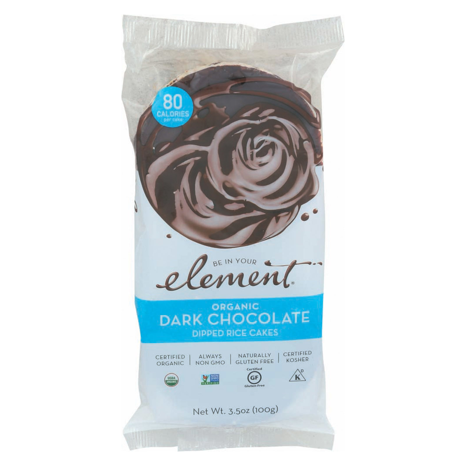 Element Organic Dipped Rice Cakes - Dark Chocolate - Case of 6 - 3.5 oz