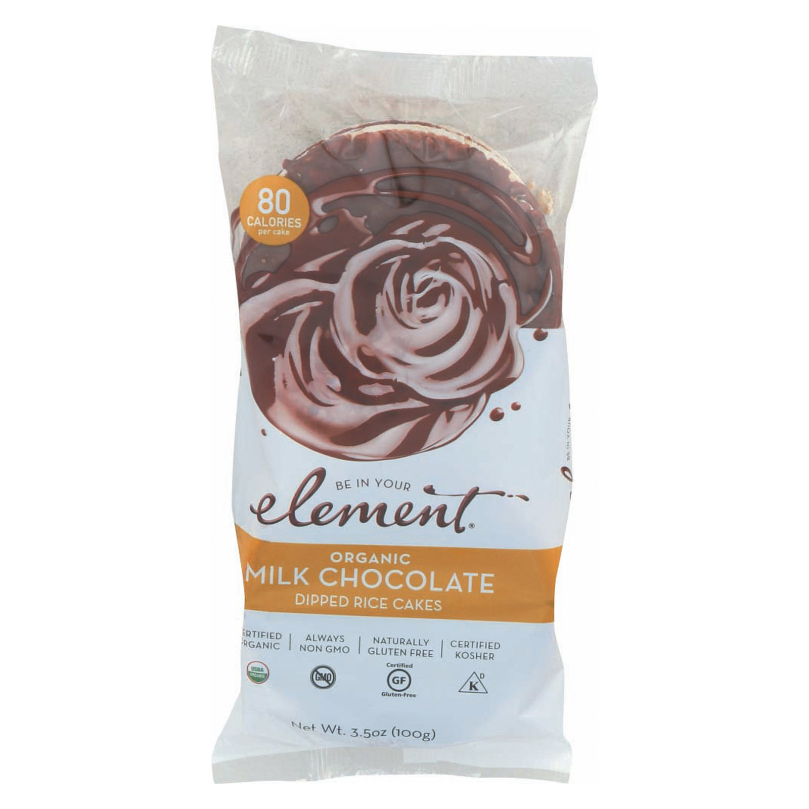 Element Organic Dipped Rice Cakes - Milk Chocolate - Case of 6 - 3.5 oz