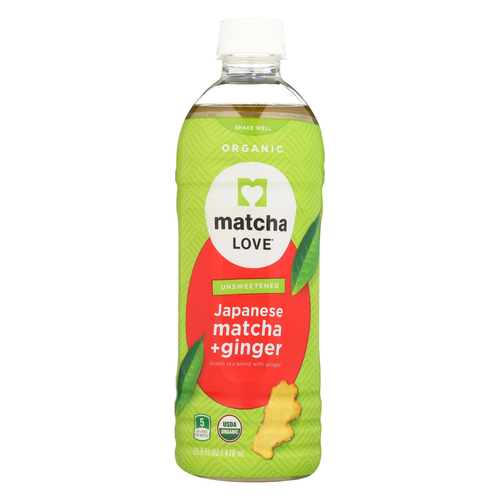 Matcha Love Drink - Organic - Matcha and Ginger - Case of 12 - 15.9 fl oz