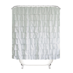 Category: Dropship Bedding & Bath, SKU #PHO_05FZAY21, Title: Plain Colour Waterproof Corrugated Edge Shower Curtain Ruffled Bathroom Curtain Decoration white_180X180cm