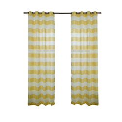Category: Dropship Bedding & Bath, SKU #PHO_0D5K6CLK, Title: Retro Style Striped Printing Tulle Curtain for Living Room Bedroom Window Decor Punching Style yellow_W 132cm* H 160cm