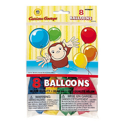 Curious George Curious George Latex Balloons [8 Per Pack]