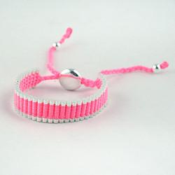 Adjustable Friendship Silver Links Bracelet - Pink