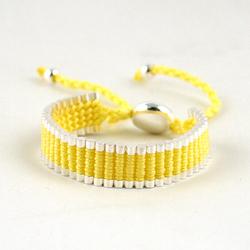 Adjustable Friendship Silver Links Bracelet - Yellow